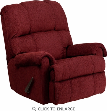Contemporary Tahoe Burgundy Chenille Rocker Recliner