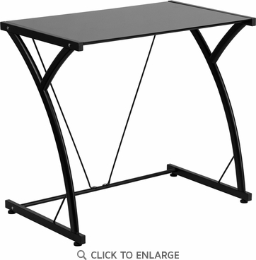 Contemporary Tempered Black Glass Computer Desk with Matching Frame [NAN-WK-SD-02-BK-GG]