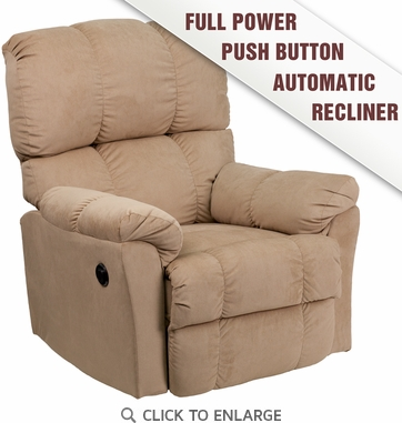 Contemporary Top Hat Coffee Microfiber Power Recliner