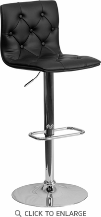 Contemporary Tufted Black Vinyl Adjustable Height Barstool with Chrome Base [CH-112080-BK-GG]