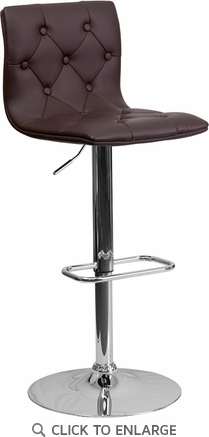 Contemporary Tufted Brown Vinyl Adjustable Height Barstool with Chrome Base [CH-112080-BRN-GG]