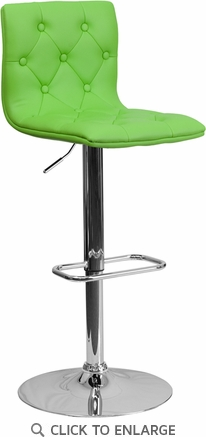 Contemporary Tufted Green Vinyl Adjustable Height Barstool with Chrome Base [CH-112080-GRN-GG]
