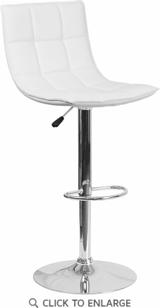 Contemporary White Quilted Vinyl Adjustable Height Barstool with Chrome Base [CH-92026-1-WH-GG]