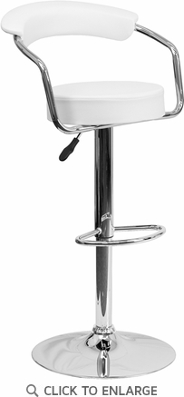 Contemporary White Vinyl Adjustable Height Barstool with Arms and Chrome Base [CH-TC3-1060-WH-GG]
