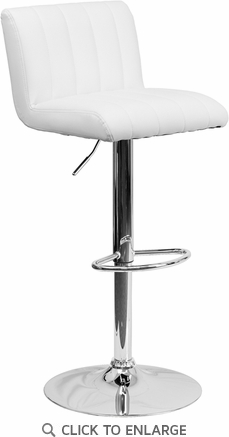 Contemporary White Vinyl Adjustable Height Barstool with Chrome Base [CH-112010-WH-GG]