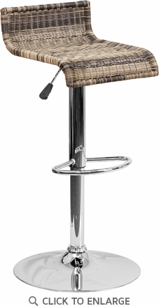 Contemporary Wicker Adjustable Height Barstool with Chrome Base [DS-712-GG]