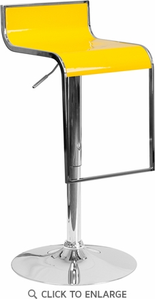 Contemporary Yellow Plastic Adjustable Height Barstool with Chrome Drop Frame [CH-TC3-1027P-YEL-GG]