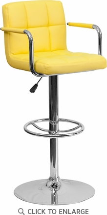Contemporary Yellow Quilted Vinyl Adjustable Height Barstool with Arms and Chrome Base [CH-102029-YEL-GG]