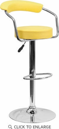 Contemporary Yellow Vinyl Adjustable Height Barstool with Arms and Chrome Base [CH-TC3-1060-YEL-GG]