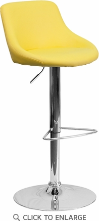 Contemporary Yellow Vinyl Bucket Seat Adjustable Height Barstool with Chrome Base [CH-82028-MOD-YEL-GG]