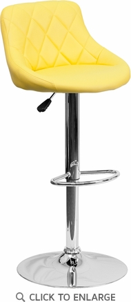 Contemporary Yellow Vinyl Bucket Seat Adjustable Height Barstool with Chrome Base [CH-82028A-YEL-GG]