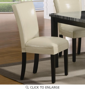 Cream Vinyl Upholstered Parson Dining Chairs by Coaster 102264 - Set of 2