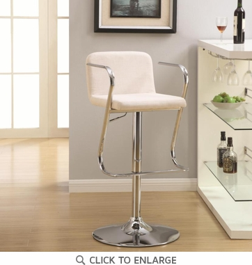 Cream White and Chrome Adjustable Bar Stool Chair by Coaster 121091