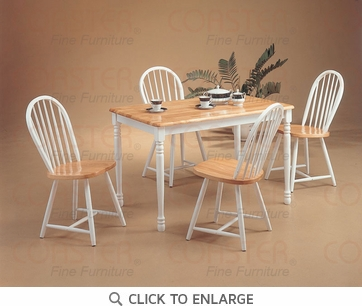 Damen 5 Piece Natural White Arrow Dining Set by Coaster - 4147