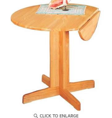 Damen Round Pedestal Dining Table with Leaf in a Natural Finish by Coaster 4137