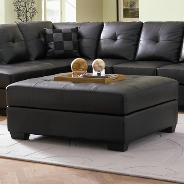Darie Black Leather Cocktail Ottoman by Coaster - 500607