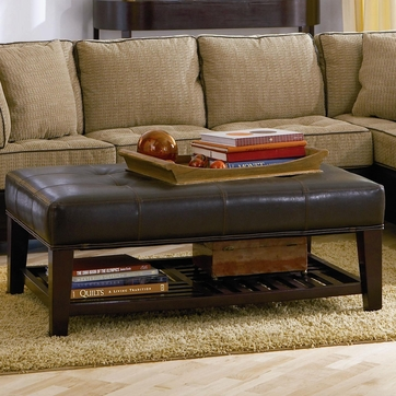 Dark Brown Faux Leather Tufted Ottoman with Shelf by Coaster - 500872