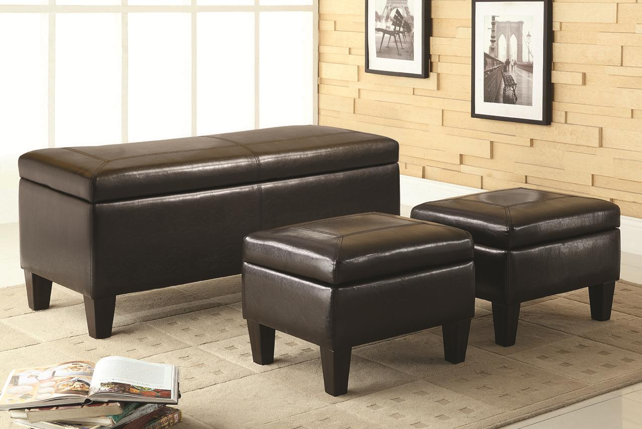 Dark Brown Leather Like Vinyl Storage Bench Ottoman Set by Coaster ...