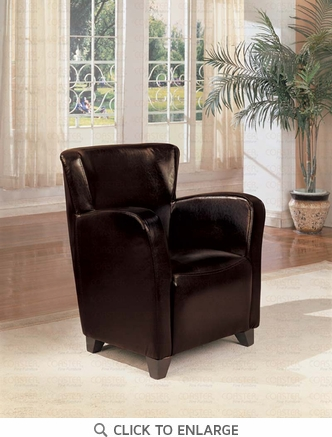 Dark Brown Vinyl High Back Accent Chair by Coaster - 900234