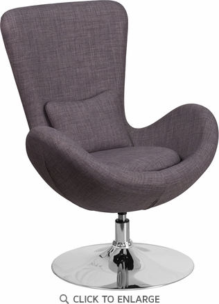 Dark Gray Fabric Egg Series Reception-Lounge-Side Chair [CH-162430-DKGY-FAB-GG]