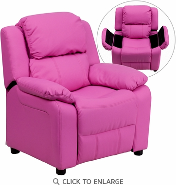 Deluxe Heavily Padded Contemporary Hot Pink Vinyl Kids Recliner with Storage Arms