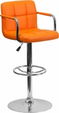 Flash Furniture Orange Quilted Vinyl Adjustable Bar Stool with Arms CH-102029-ORG-GG