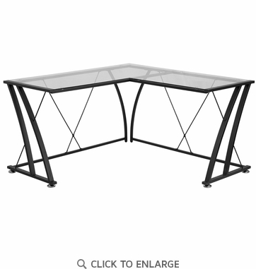 Glass L-Shape Computer Desk with Black Frame Finish [NAN-WK-096-GG]