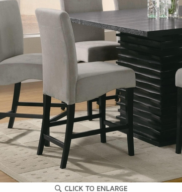 Gray Counter Height Stool Chair with Black legs by Coaster 102069GRY - Set of 2