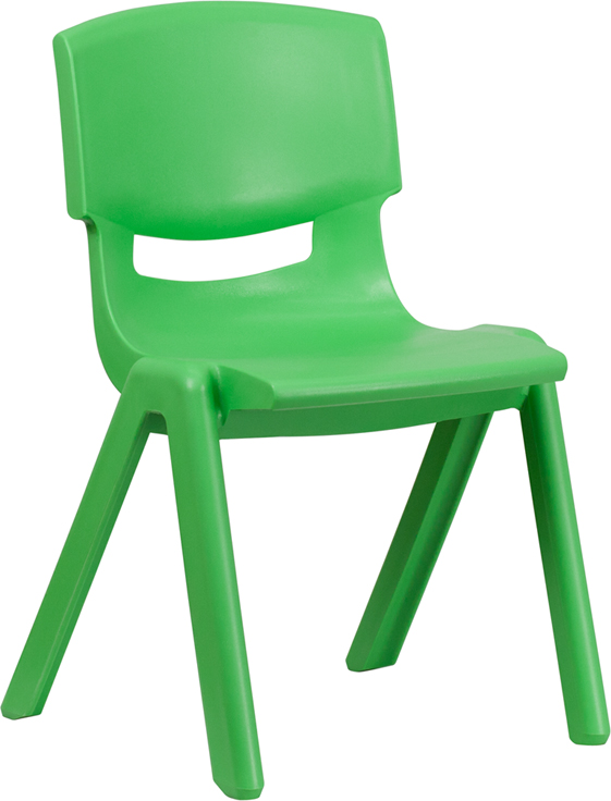 green plastic stackable school chair with 15.5'' seat height [yu