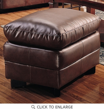 Harper Brown Overstuffed Leather Ottoman by Coaster - 501914