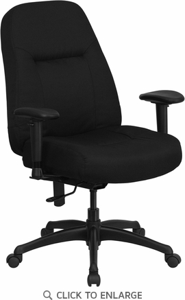 HERCULES 400 lb. Capacity Big & Tall Black Fabric Office Chair with Adjustable Arms and WIDE Seat [WL-726MG-BK-A-GG]
