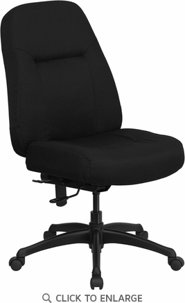 HERCULES 400  lb.Capacity Big & Tall Black Fabric Office Chair with Extra WIDE Seat [WL-726MG-BK-GG]