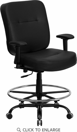 HERCULES 400 lb. Capacity Big & Tall Black Leather Drafting Stool with Arms and WIDE Seat [WL-735SYG-BK-LEA-AD-GG]