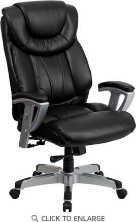 HERCULES 400 lb. Capacity Big & Tall Black Leather Office Chair with Arms [GO-1534-BK-LEA-GG]