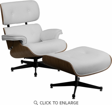 HERCULES Presideo Top Grain White Italian Leather Lounge Chair and Ottoman Set with Metal Base