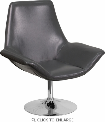 HERCULES Sabrina Series Gray Leather Reception Chair [CH-102242-GY-GG]