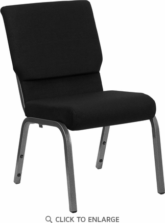 HERCULES Series 18.5''W Black Fabric Stacking Church Chair with 4.25'' Thick Seat - Silver Vein Frame [XU-CH-60096-BK-SV-GG]