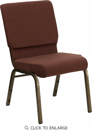 HERCULES Series 18.5''W Brown Fabric Stacking Church Chair with 4.25'' Thick Seat - Gold Vein Frame [FD-CH02185-GV-10355-GG]