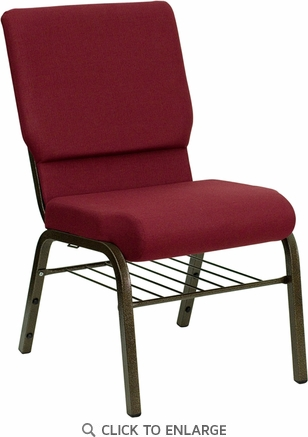 HERCULES Series 18.5''W Burgundy Fabric Church Chair with 4.25'' Thick Seat, Book Rack - Gold Vein Frame [XU-CH-60096-BY-BAS-GG]