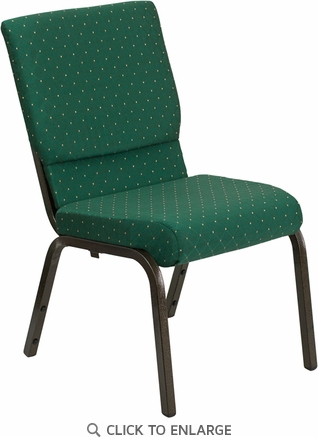 HERCULES Series 18.5''W Green Patterned Fabric Stacking Church Chair with 4.25'' Thick Seat - Gold Vein Frame [XU-CH-60096-GN-GG]