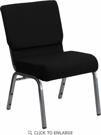 HERCULES Series 21'' Extra Wide Black Fabric Stacking Church Chair with 3.75'' Thick Seat - Silver Vein Frame [XU-CH0221-BK-SV-GG]