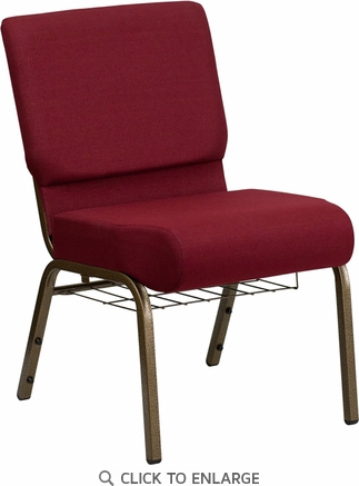HERCULES Series 21'' Extra Wide Burgundy Fabric Church Chair with 4'' Thick Seat, Communion Cup Book Rack - Gold Vein Frame [FD-CH0221-4-GV-3169-BAS-GG]