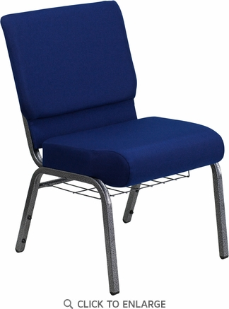 HERCULES Series 21'' Extra Wide Navy Blue Fabric Church Chair with 4'' Thick Seat, Communion Cup Book Rack - Silver Vein Frame [FD-CH0221-4-SV-NB24-BAS-GG]