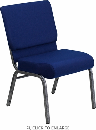 HERCULES Series 21'' Extra Wide Navy Blue Fabric Stacking Church Chair with 4'' Thick Seat - Silver Vein Frame [FD-CH0221-4-SV-NB24-GG]