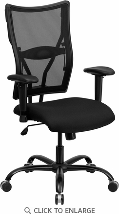 HERCULES Series 400 lb. Capacity Big & Tall Black Mesh Office Chair with Arms [WL-5029SYG-A-GG]