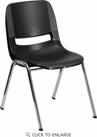 HERCULES Series 440 lb. Capacity Black Ergonomic Shell Stack Chair with Chrome Frame and 12'' Seat Height [RUT-12-BK-CHR-GG]