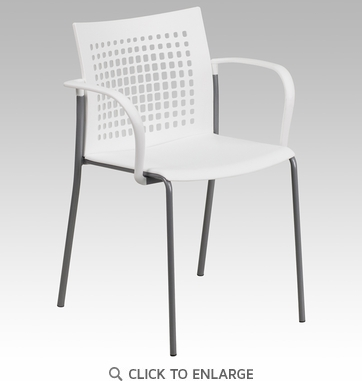 HERCULES Series 551 lb. Capacity White Stack Chair with Air-Vent Back and Arms [RUT-1-WH-GG]