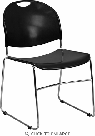 HERCULES Series 880 lb. Capacity Black Ultra Compact Stack Chair with Chrome Frame [RUT-188-BK-CHR-GG]