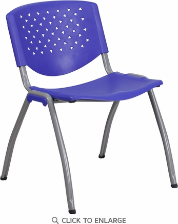 HERCULES Series 880 lb. Capacity Navy Plastic Stack Chair with Gray Frame Finish [RB-F01A-NY-GG]