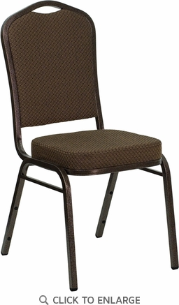 HERCULES Series Crown Back Stacking Banquet Chair with Brown Patterned Fabric and 2.5'' Thick Seat - Copper Vein Frame [FD-C01-COPPER-008-T-02-GG]